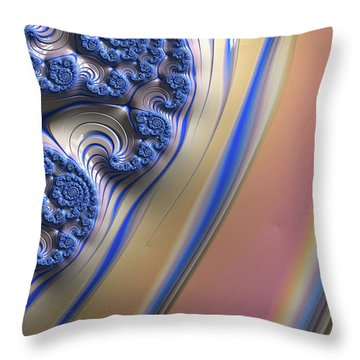 Blue Swirly Fractal 2 Throw Pillow by Bonnie Bruno