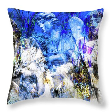 Blue Symphony Of Angels Throw Pillow