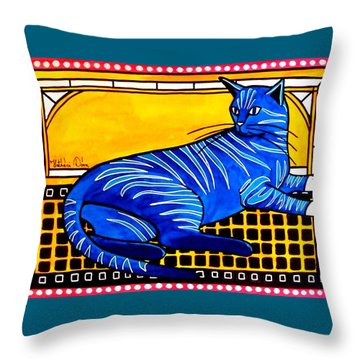 Throw Pillow featuring the painting Blue Tabby - Cat Art By Dora Hathazi Mendes by Dora Hathazi Mendes