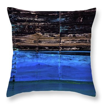 Blue Tanker Throw Pillow