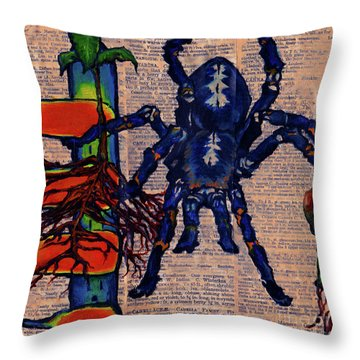 Blue Tarantula Throw Pillow by Emily McLaughlin