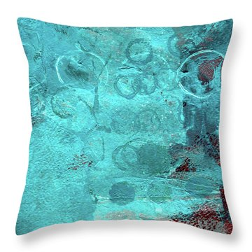 Throw Pillow featuring the painting Blue Textures by Nancy Merkle