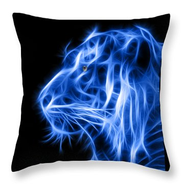 Throw Pillow featuring the photograph Blue Tiger by Shane Bechler