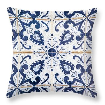 Blue Tile Of Portugal Throw Pillow