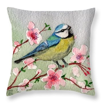 Blue Tit Bird On Cherry Blossom Tree Throw Pillow