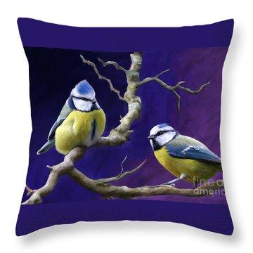 Blue Titmouse Throw Pillow