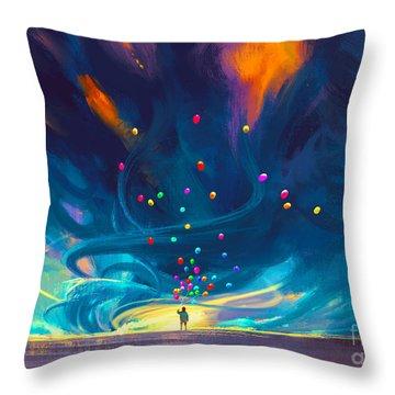 Blue Tornado Throw Pillow