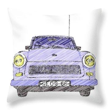 Blue Trabant Throw Pillow