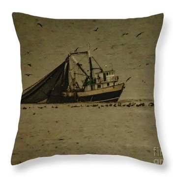 Blue Trawler 2 Throw Pillow