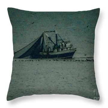 Blue Trawler 3 Throw Pillow
