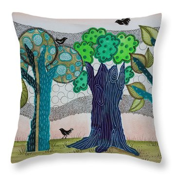 Blue Trees Throw Pillow