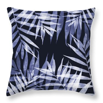 Blue Tropical Leaves Throw Pillow
