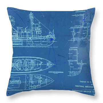 Blue Tugboat Blueprints Throw Pillow
