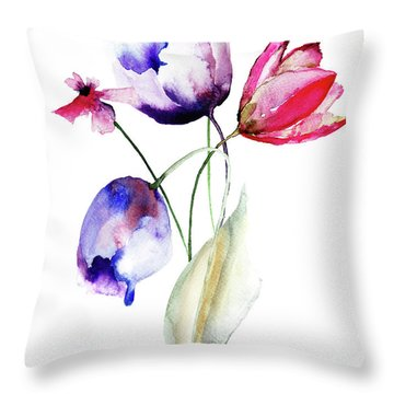 Blue Tulips Flowers With Wild Flowers Throw Pillow