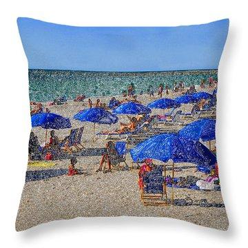 Blue Umbrella  Beach Throw Pillow by David Lee Thompson