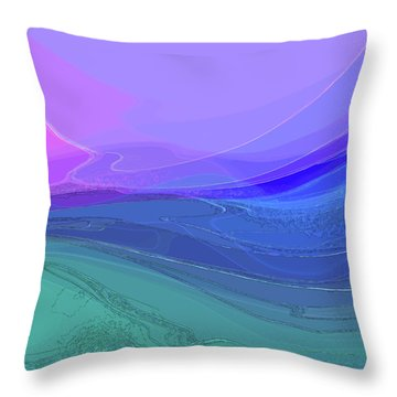 Throw Pillow featuring the digital art Blue Valley by Gina Harrison