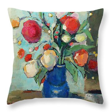 Throw Pillow featuring the painting Blue Vase by Becky Kim