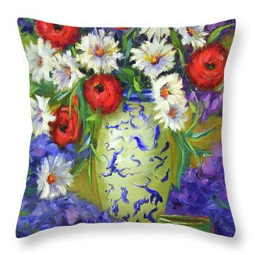 Blue Vase Flowers Throw Pillow