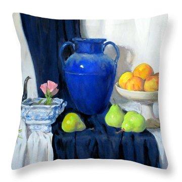 Blue Vase, Peaches, Pears, Lisianthus, Silver Coffeepot Throw Pillow