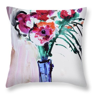 Blue Vase With Red Wild Flowers Throw Pillow by Amara Dacer