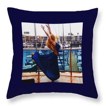 Blue Velvet Rain  Throw Pillow
