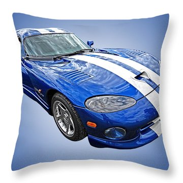 Blue Viper Throw Pillow
