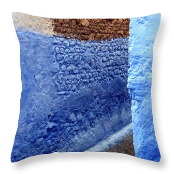 Throw Pillow featuring the photograph Blue Walls Of Chefchaouen by Ramona Johnston