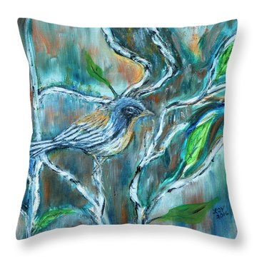 Blue Warbler In Birch Throw Pillow