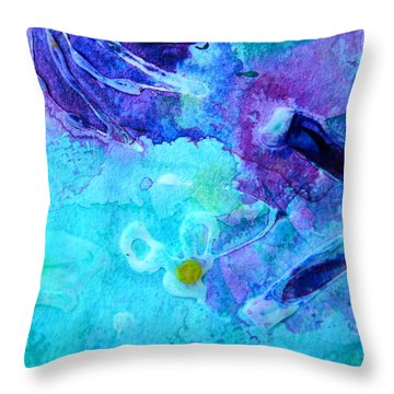 Blue Water Flower Throw Pillow