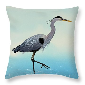 Throw Pillow featuring the painting Blue Water Heron by James Williamson