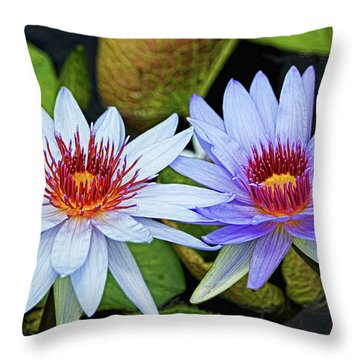 Throw Pillow featuring the photograph Blue Water Lilies by Judy Vincent