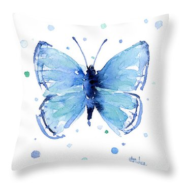 Blue Watercolor Butterfly Throw Pillow