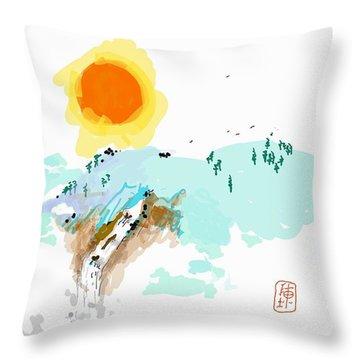Blue Waterfalll Throw Pillow by Debbi Saccomanno Chan