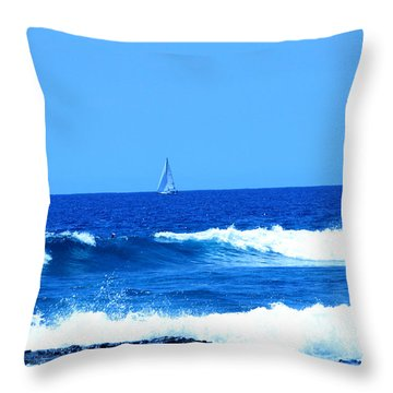 Throw Pillow featuring the photograph Blue Waters And Sailboat by Karen Nicholson