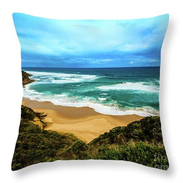Throw Pillow featuring the photograph Blue Wave Beach by Perry Webster