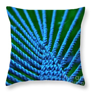 Blue Weave Throw Pillow by Xn Tyler