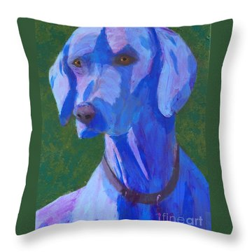 Blue Weimaraner Throw Pillow