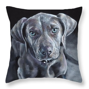 Throw Pillow featuring the painting Blue Weimaraner by John Neeve