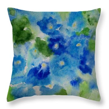 Blue Wet On Wet Throw Pillow by Jamie Frier