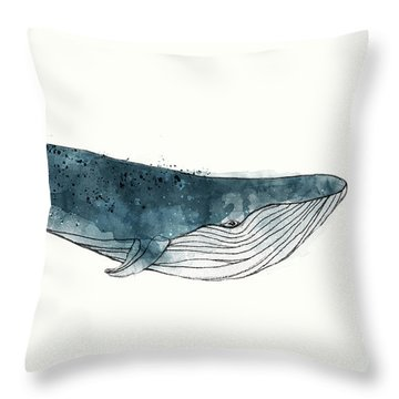 Blue Whale From Whales Chart Throw Pillow by Amy Hamilton