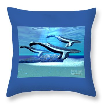 Blue Whale Sanctuary Throw Pillow by Corey Ford