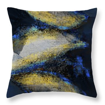 Throw Pillow featuring the mixed media Blue Whales by Eduardo Tavares