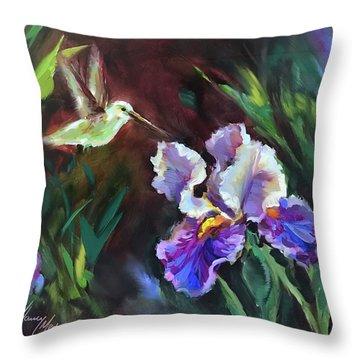 Blue Whispers Hummingbird Throw Pillow