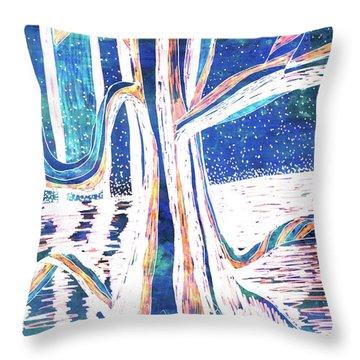 Blue-white Full Moon River Tree Throw Pillow