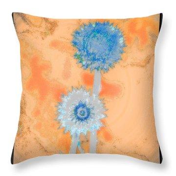 Blue White Thistles Throw Pillow