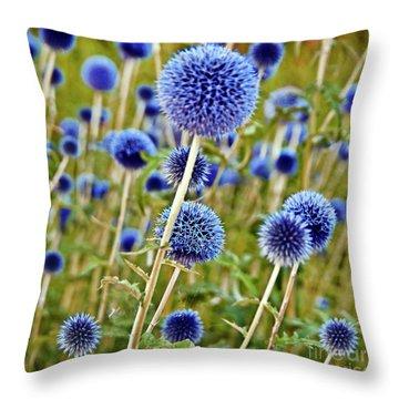 Blue Wild Thistle Throw Pillow