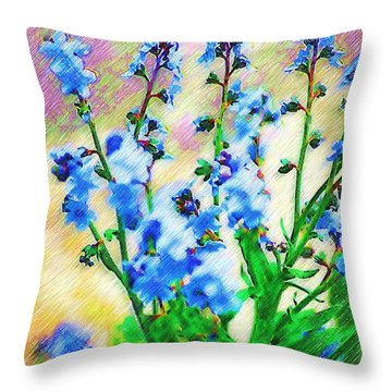 Throw Pillow featuring the photograph Blue Wildflowers by Donna Bentley