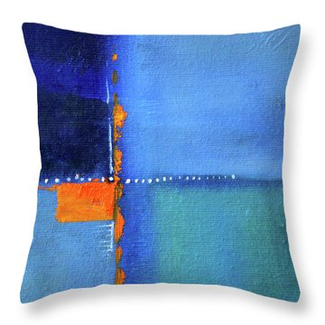 Throw Pillow featuring the painting Blue Window Abstract by Nancy Merkle