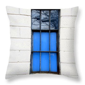 Blue Window Panes Throw Pillow by Sandra Church
