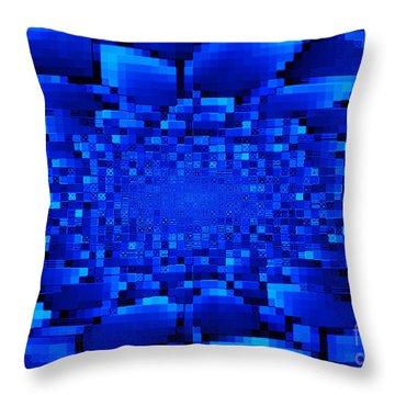 Blue Windows Abstract Throw Pillow by Carol Groenen